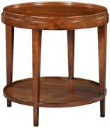 Side Table Round Lipped Top Distressed Rustic Brown Solid Acacia Wood Shelf