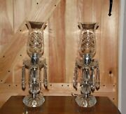 Pair Vintage Glass Mantle Lusters Hurricane Table Lamps Crystal Frog Prisms