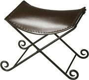 Stool Distressed Metalworks Iron Leather Bronze Tabacco