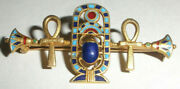 Exquisite Antique Egyptian Revival Scarab 18k Gold Enamel Pin Brooch