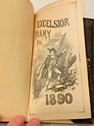 1890 Antique Pocket Excelsior Diary Calendars Some Writing