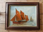 Antique Oil Painting Sailing Barges Sun Sea Nautical Signed A Friedenson
