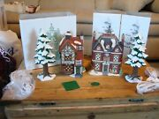 Dept 56 Dickens Village Series Heritage Village Collection 2 Houses 2 Pine Trees