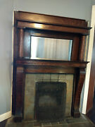 Antique Victorian Wood Fireplace Mantel Surround With Mirror