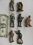 7 Special Vintage Wwi, Wwii Painted Toy Lead Soldiers, Gas Mask, Drum Bugle Gift