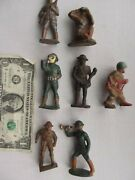 7 Special Vintage Wwi Wwii Painted Toy Lead Soldiers Gas Mask Drum Bugle Gift