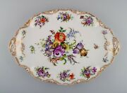 Large Dresden Serving Dish In Hand-painted Porcelain With Floral Motifs