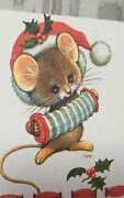 Sangamon Ruth Morehead Christmas Musical Mouse Seal A Note Fold Over Cards Holly