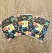 Vintage Wrapping Paper Black With Tassels Lot Of 3 Will Wrap 2 Gift Boxes Each