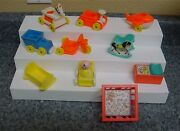 Vintage Fisher Price Little People Doll House Baby Doll Furniture Toys Huge Lot