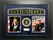 Ronald Reagan Signed Autographed Framed Cut Signature Beckett 40th Us President