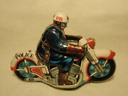 Vintage Nakayama Japan Tin Motorcycle Police P.d Friction Toy As-is