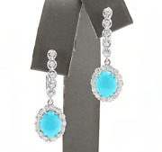 6.20ct Natural Turquoise And Diamond 14k Solid White Gold Earrings