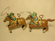 Lot 2 Vtg 1950s Tin Litho Wind-up Cowboy Riding Horse Lasso Toy Japan As-is