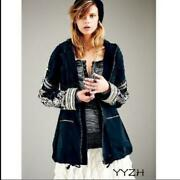 Spring Autumn Women Embroidered Hoodie Jacket Punk Military Regular Cape Coats