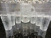 Vintage Anchor Hocking Mcm Clear Tahiti Bamboo Pitcher And 6 Glass Tumblers Rare