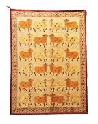 Vintage Handmade Indian Cows Thread Work Beautiful Wall Hanging Embroidered Home