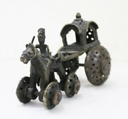 Horse Chariot Rider Wheel Statue Brass Home Vintage Collectible India Us775ah