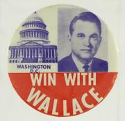 Vintage Political Campaign Pinback Button Washington Dc Win With George Wallace