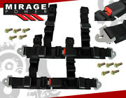 2 Black Nylon 4point Harness Racing Seat Belts Buckle Latch Clip On Secure Pair