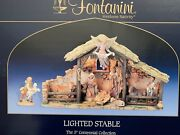 Fontanini 5 Centennial Collection Lighted Stable Nativity Set W/figures- Roman