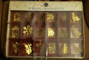 Vintage Set Of 18 Used In Box Holiday Classics Brass Christmas Tree Ornaments
