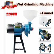 2200w Wet Electric Feed Flour Mill Cereals Grinder Corn Grain Wheat+funnel 110v