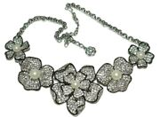 Rare Stunning Kenneth Jay Lane Kjl Black And White Pearl Poppy Pave Necklace