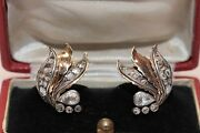 Antique Ottoman 14k Gold Natural Rose Cut Diamond Decorated Pretty Earring