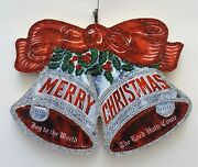 Silver Bells W Red Ribbon Bow Holly Glittered Wood Christmas Ornament Vtg Img