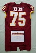 75 Brandon Scherff Of Redskins Nfl Game Used And Unwashed Jersey Vs Cowboys Wcoa
