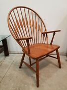 Contemporary Hans Wegner Style Peacock Chair In Solid Cherry By Fw Lombard Co
