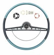 Oer Two Tone Blue Steering Wheel Kit 1963 Chevy Impala With Standar Emblem
