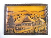 Vintage Hand Carved Hand Painted Wooden 3d Black Forest Picture Made In Germany