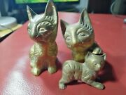 """Small Vintage Brass Sitting Cat Figures And Kitten Statue Ornaments 3.5"""" Tall"""