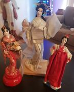 """Vintage """"snow Queen"""" Geisha Doll From Nishi And Co. Ltd On Wood Base Plus 2 Others"""