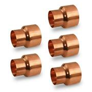 Plumbers Choice Copper Reducing Coupling Fitting Rolled Tube Stop 4 X 2-1/2 5pk