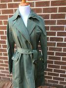 Nwt New Jcrew Size 2 Moss Green Belted Trench Coat Jacket Women D