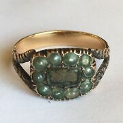 Inscribed 1828 Seed Pearl 14k Yellow Gold Sweetheart Ring American Size 6.25