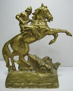 1940s Pennsylvania State Police J R Stewart Old Brass Doorstop Bookend Statue