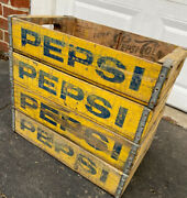 4 Vintage Faded Weathered Yellow Pepsi Wood Soda Pop Crates Lot
