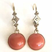 Vintage 14k Yellow And White Gold Natural Coral And Diamond Earrings Circa 1980s
