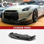 For Nissan Gtr R35 09-11 Am-style Carbon Fiber Front Bumper Lip With Undertray