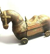Rare Vintage/antique Hand Made Horse Box, Wood, Hammered Brass Copper-free Ship