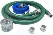 Discharge Hose Pump Kit 2 X 20 Ft Suction Hose W/ Discharge Hose And Strainer