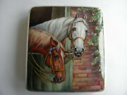 Vintage Alpaca German Silver And Enamel Two Horses In Stable Cigarette Case 1920's