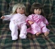 Bitty Baby Retired Girl Twin Dolls Blonde And Brunette With Extra Clothes Euc