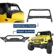 Front Windshield Frame Cover Armour + Front Bumper For Jeep Wrangler Tj 97-06