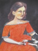 Girl In Red Dress With Black Cat Outsider Folk Art Watercolor Painting A Romano