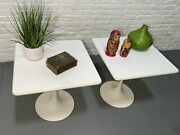 Saarinen Styled Mid Century Modern Square Side / End Tables